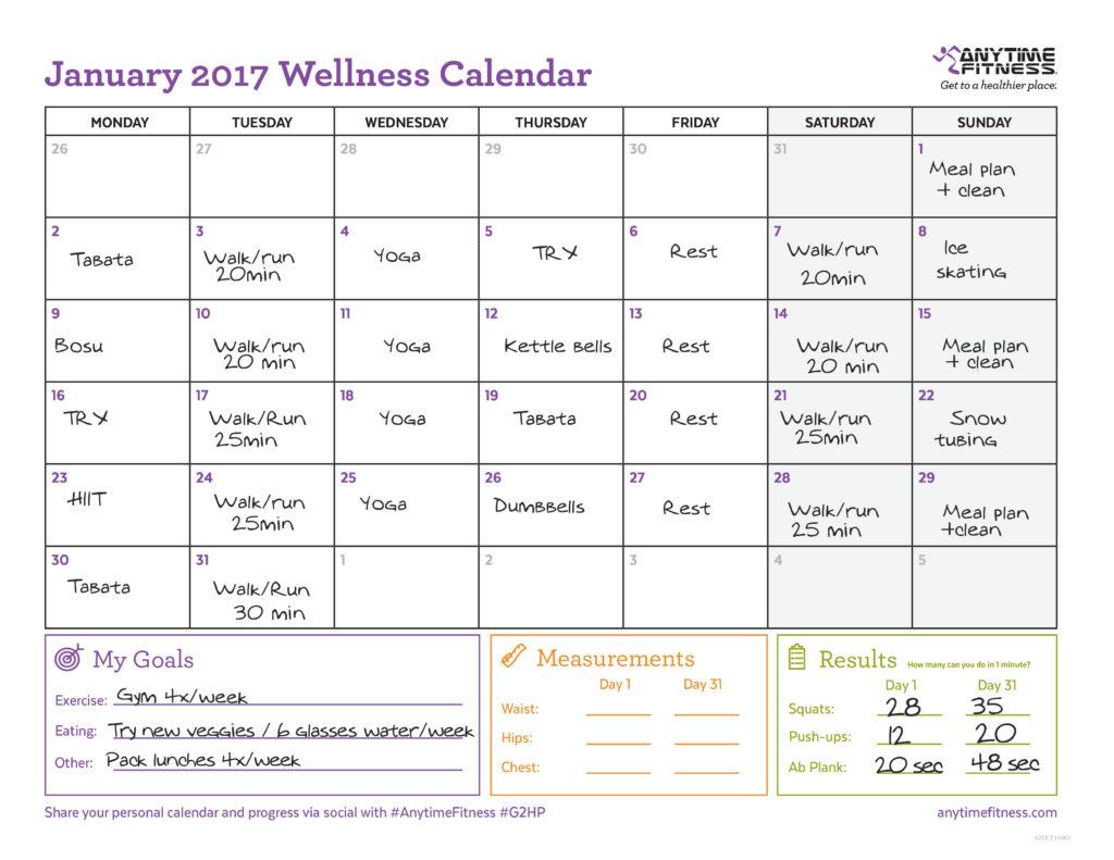 Exemple de calendrier de janvier