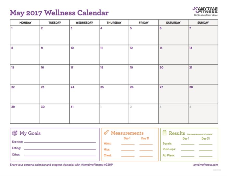 Capture d'écran du calendrier de mai 2017