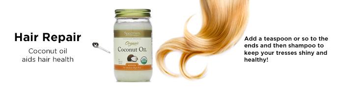 cheveux d'huile de noix de coco