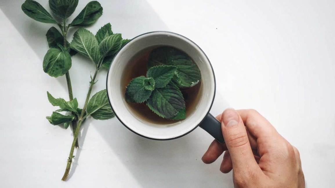 Thé à la menthe et feuilles