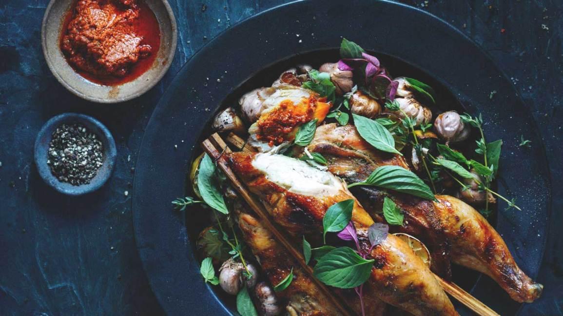 Poulet grillé, ail et pesto