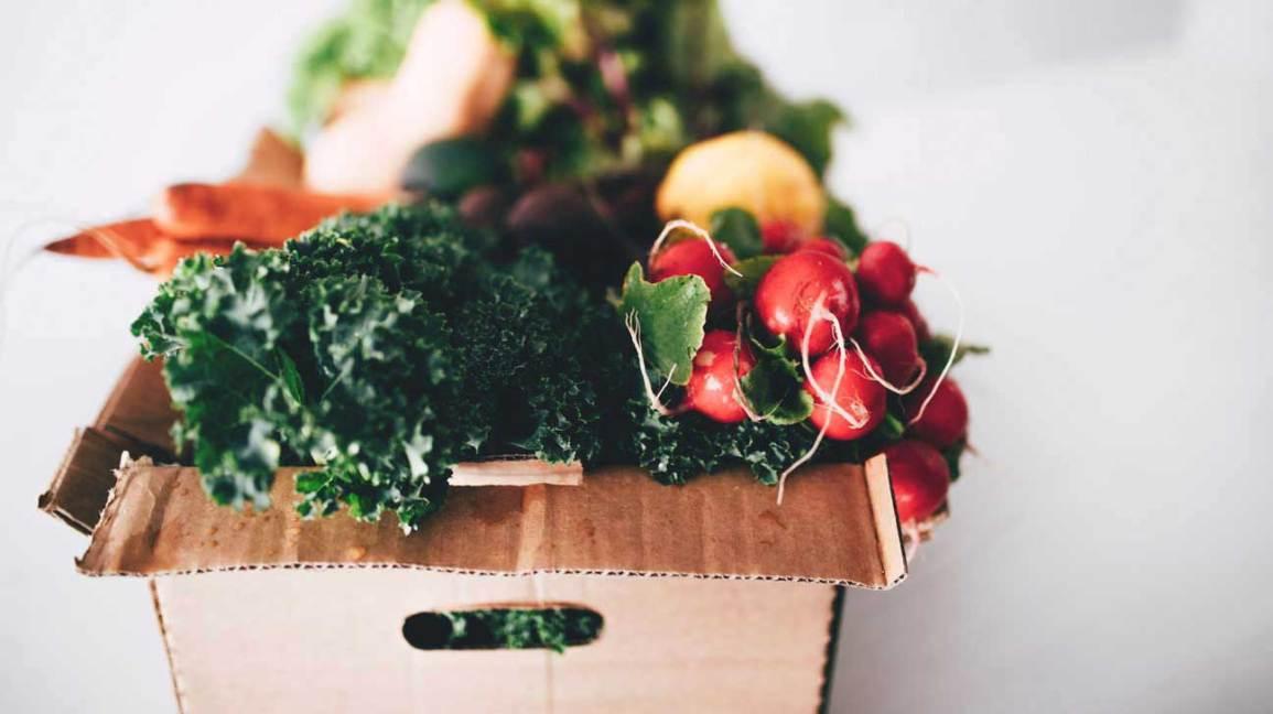 Légumes d'hiver dans une boîte en carton