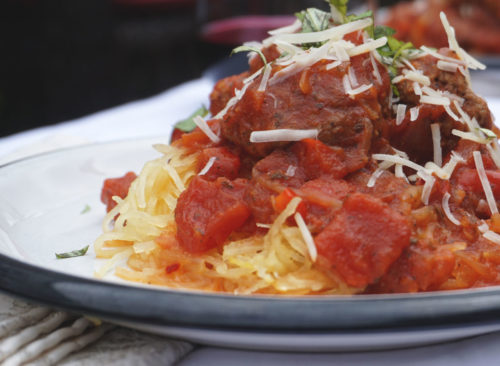 Boulettes de marinara à la courge spaghetti