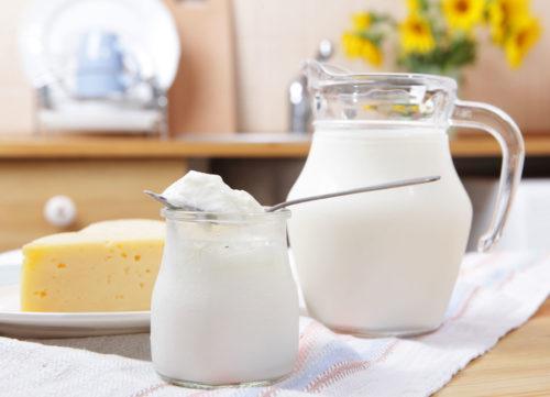Les produits laitiers tels que le lait en poudre retiennent le fromage au yogourt sur la toile