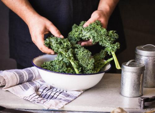 Kale main feuilles vertes feuilles massées dans un bol