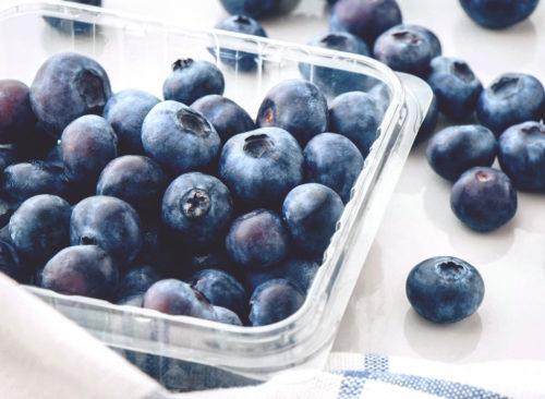 Broche en plastique bleuets frais