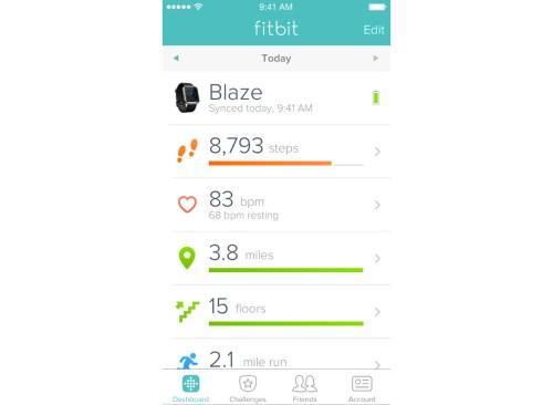 capture d'écran de l'application Fitbit