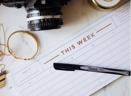 Le planificateur de cette semaine avec stylo et appareil photo