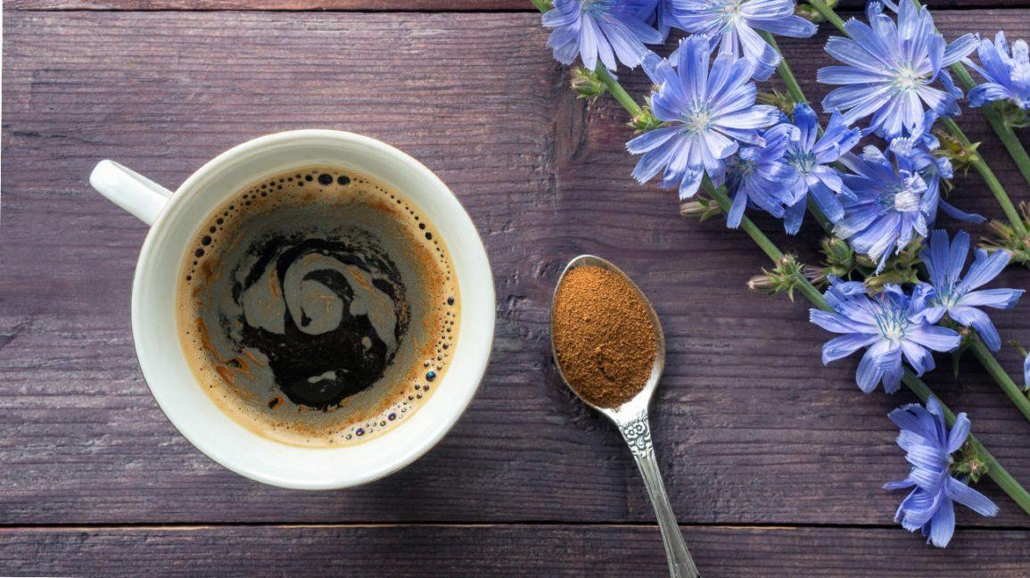 café de racine de chicorée dans une tasse et une cuillerée de poudre de racine de chicorée