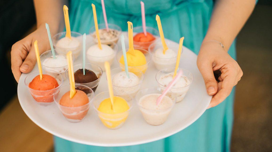 échantillons de crème glacée sans lactose