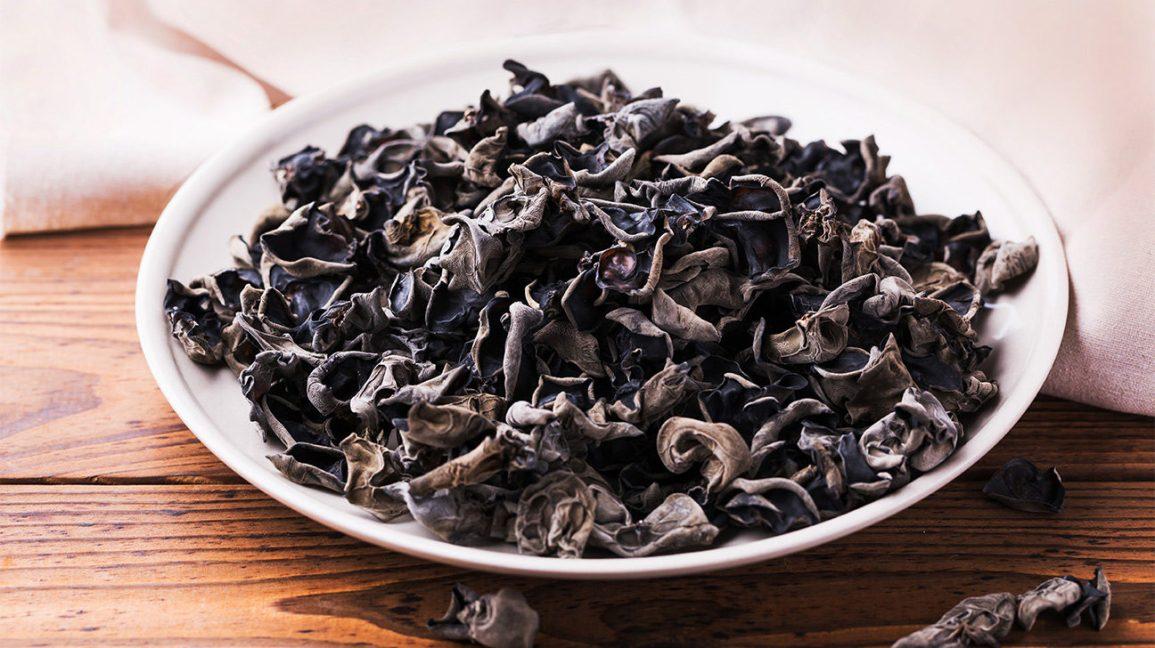 champignon noir ou champignon oreille de bois sur une plaque
