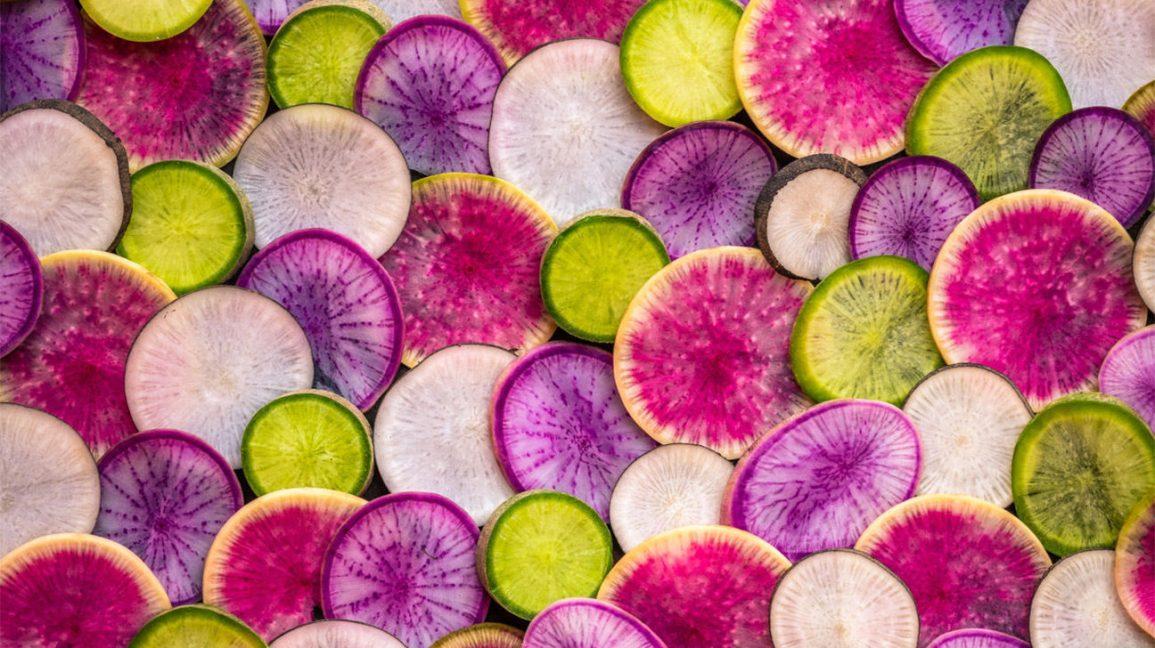Radis Daikon Tranches colorées de radis daikon