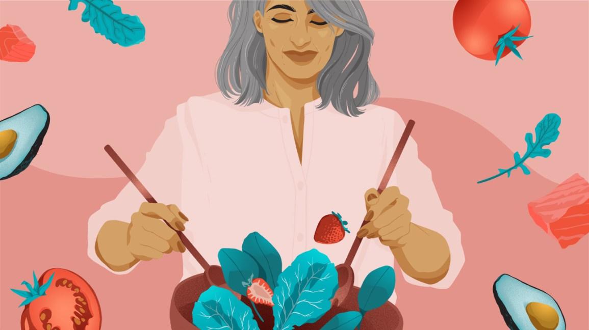 illustration de femme mélangeant une salade