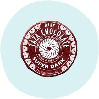 Disques de chocolat super noir Taza 85%