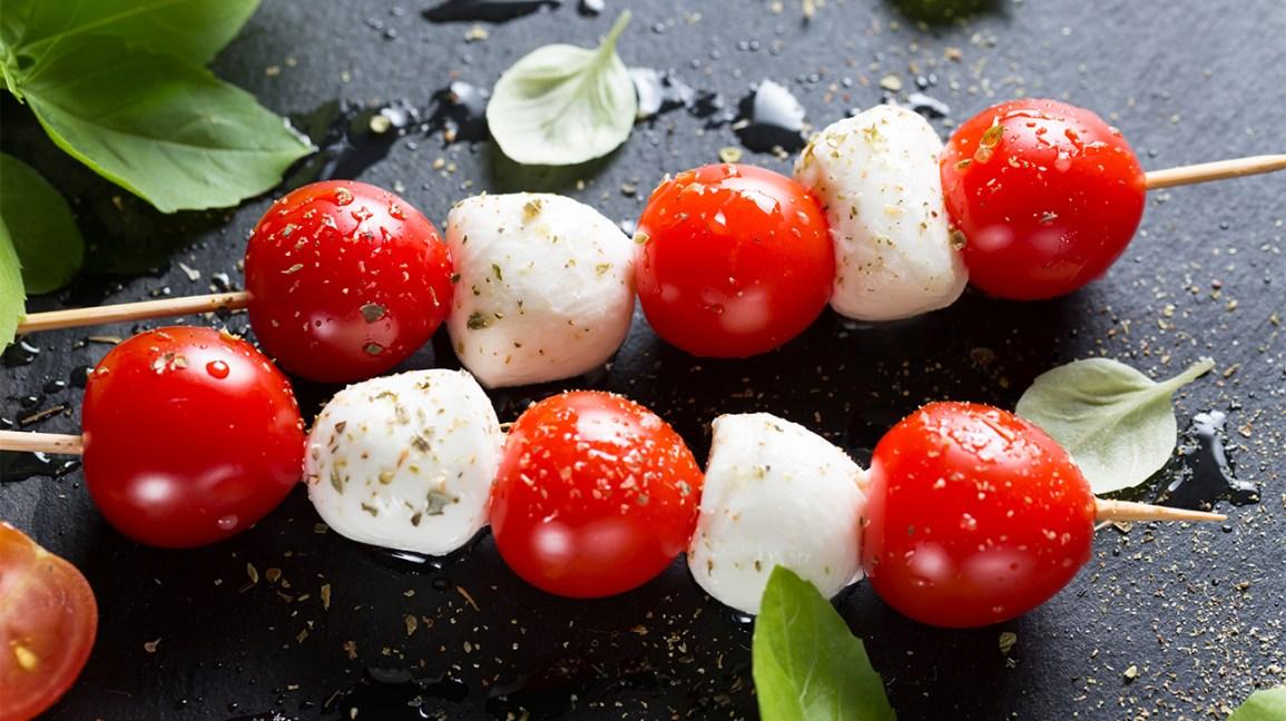 brochettes de tomates et de mozzarella