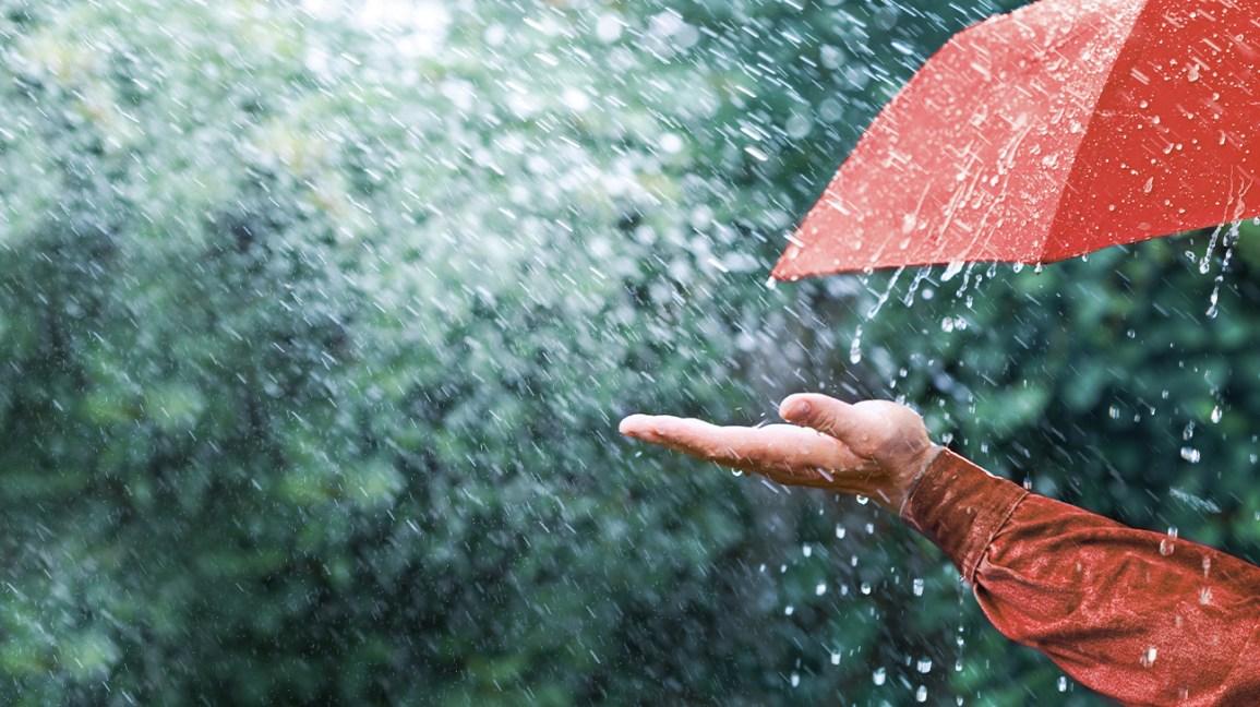Personne tenant sa main sous la pluie