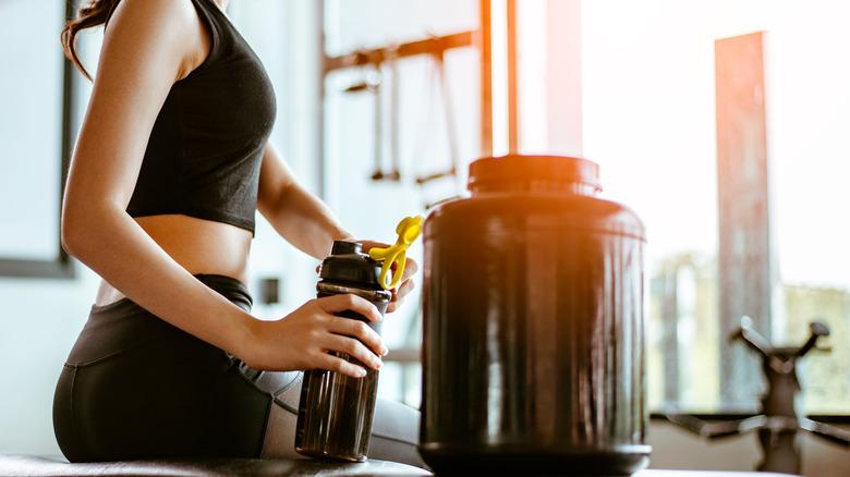 Poudre de protéine pour boisson sportive